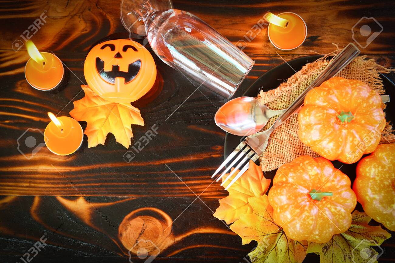 Halloween Dinner Table Setting.Halloween Table Setting Decoration Accessories Holiday Candle