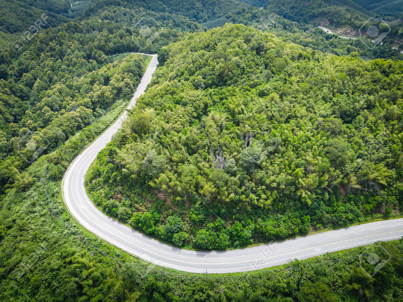 Aerial view forest nature with car on the road on the mountain green tree, Top view road curve from above, Bird eye view road through mountain the green forest beautiful fresh environment - 173248649