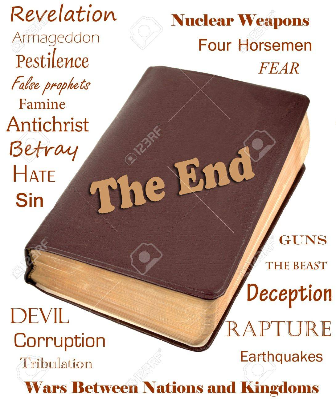 Words that relate to the end of the world around a leather bible