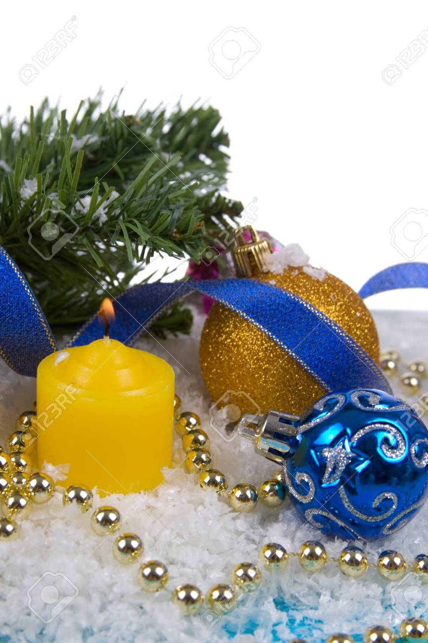 Christmas decorations in the snow on a white background Stock Photo - 11009221