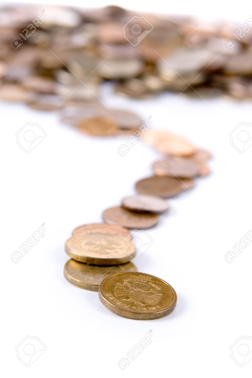 Track of the coins  isolated on white background Stock Photo - 11118262