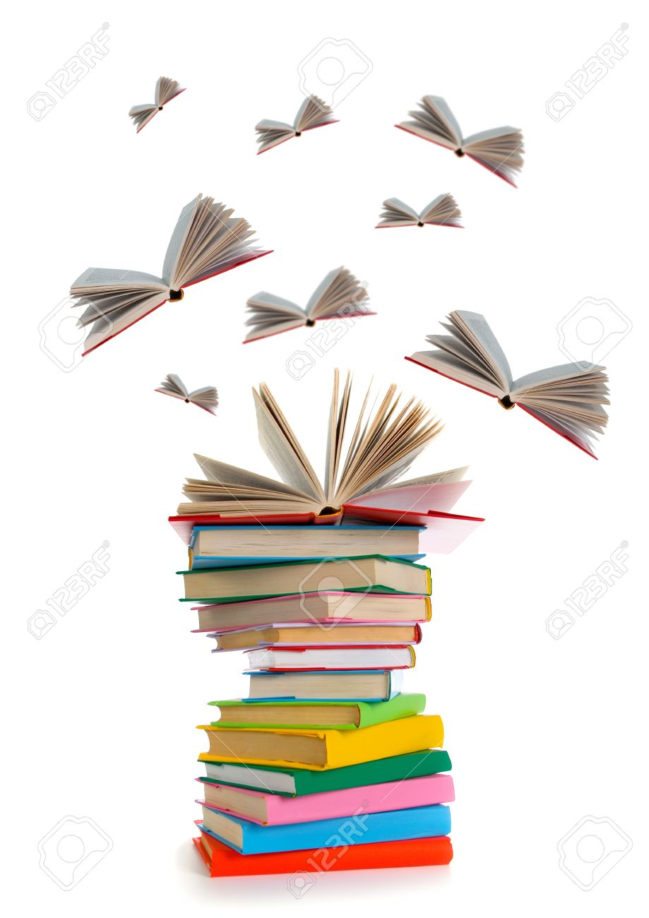 Flying Books On White Background Stock Photo, Picture And Royalty ...