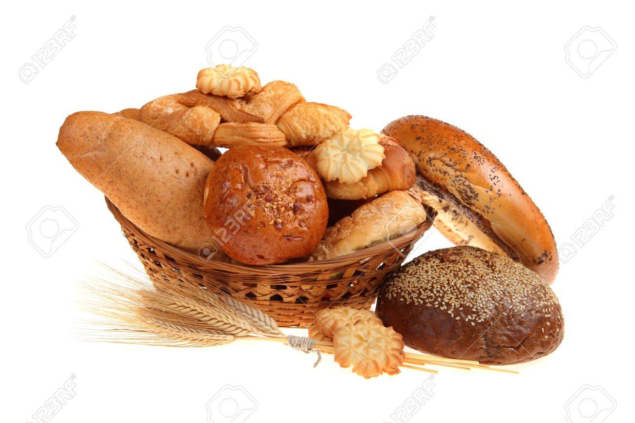 Bread in a basket, isolated on white background Stock Photo - 15843500