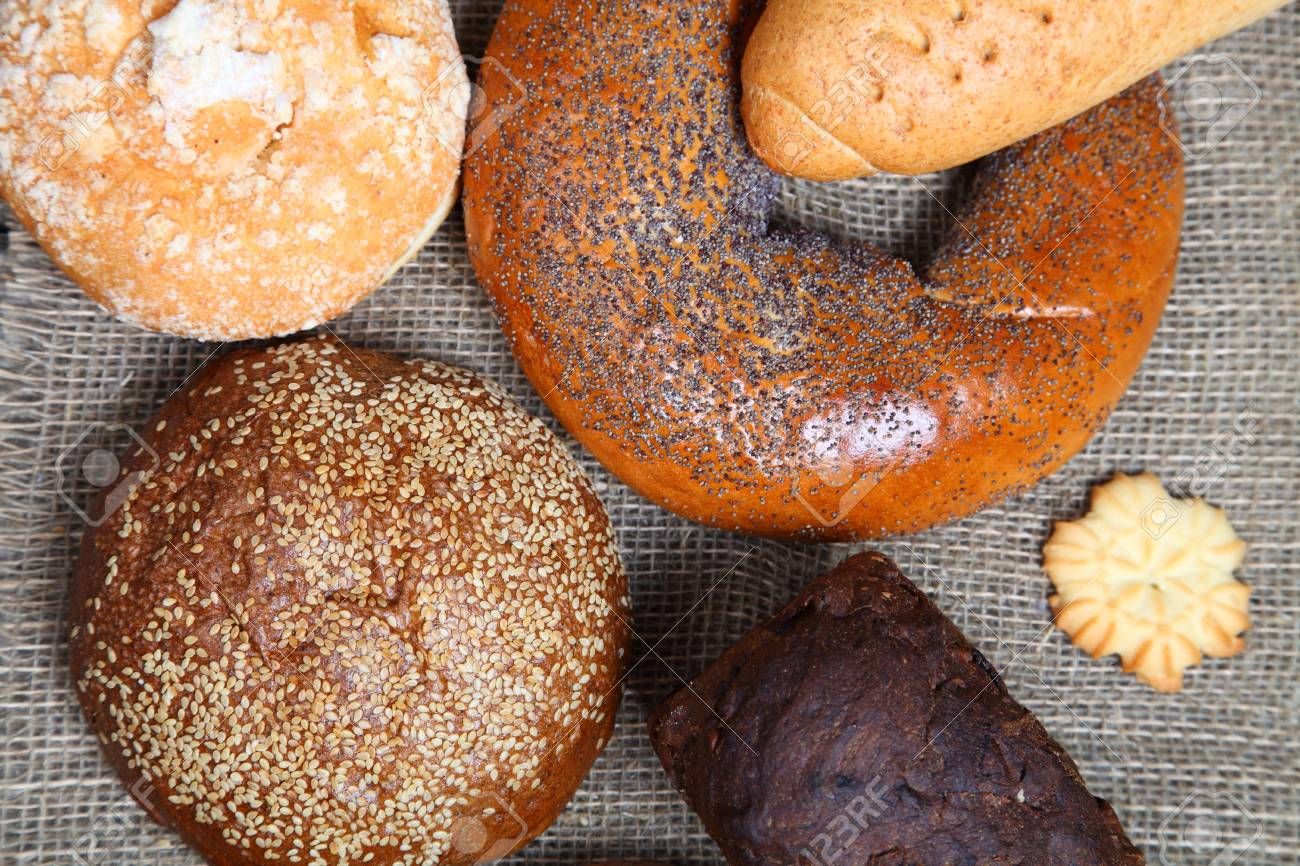 Bread on sacking close-up Stock Photo - 16688586