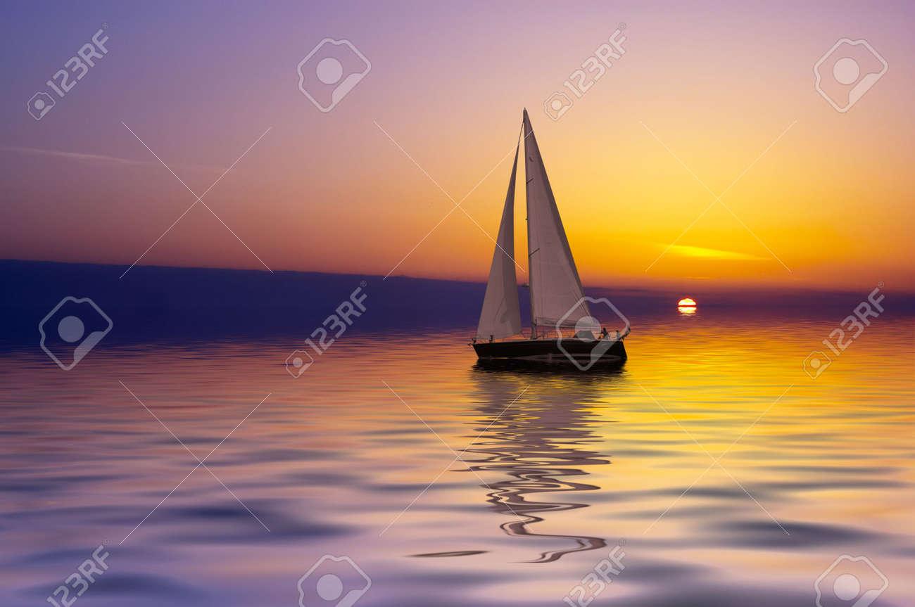 Sailing on a beautiful night Stock Photo - 444959