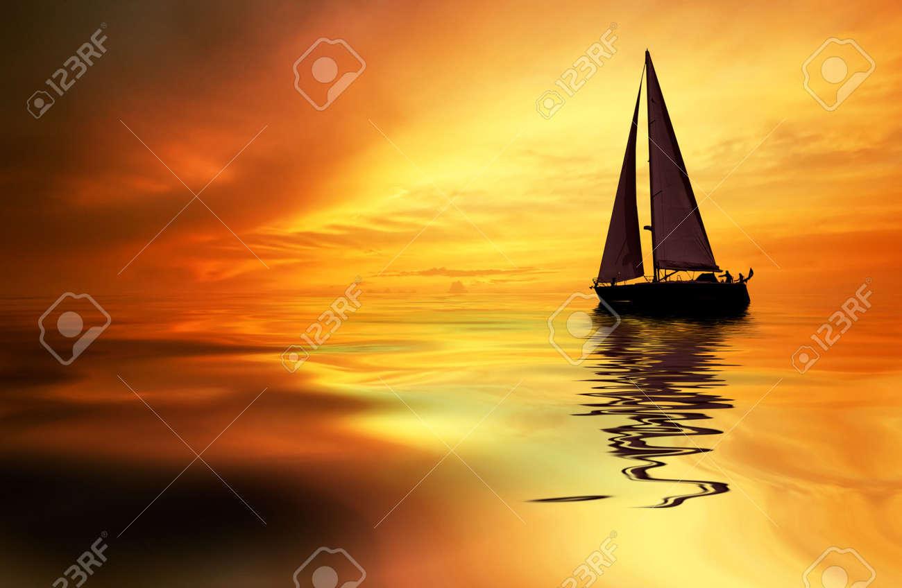 Sailboat against a beautiful sunset Stock Photo - 656189