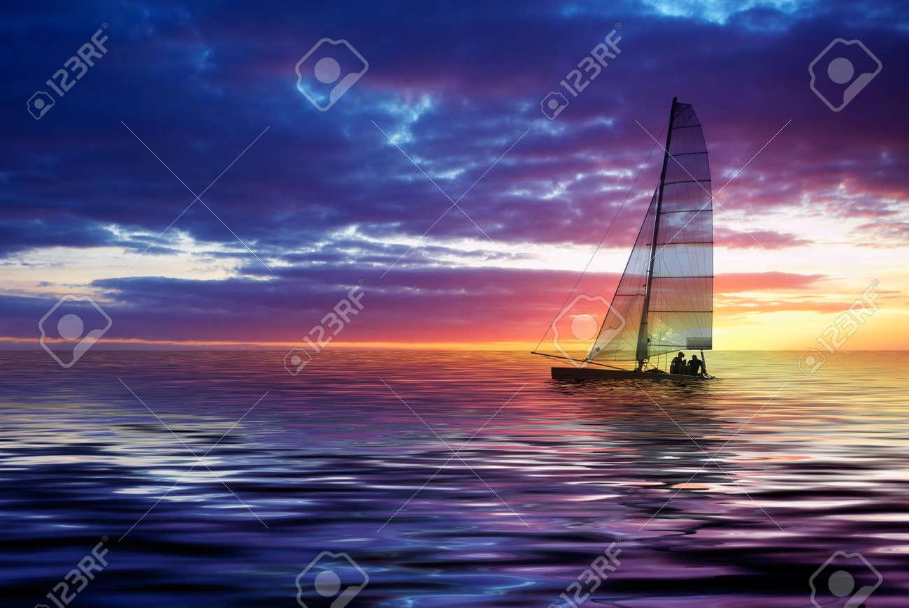Sailboat against a beautiful sunset Stock Photo - 656186
