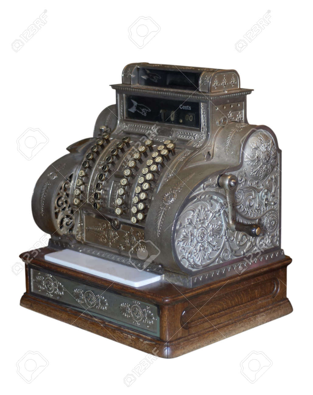 Souvent Ancienne Caisse Enregistreuse Isolé Sur Blanc Banque D'Images Et  EO73