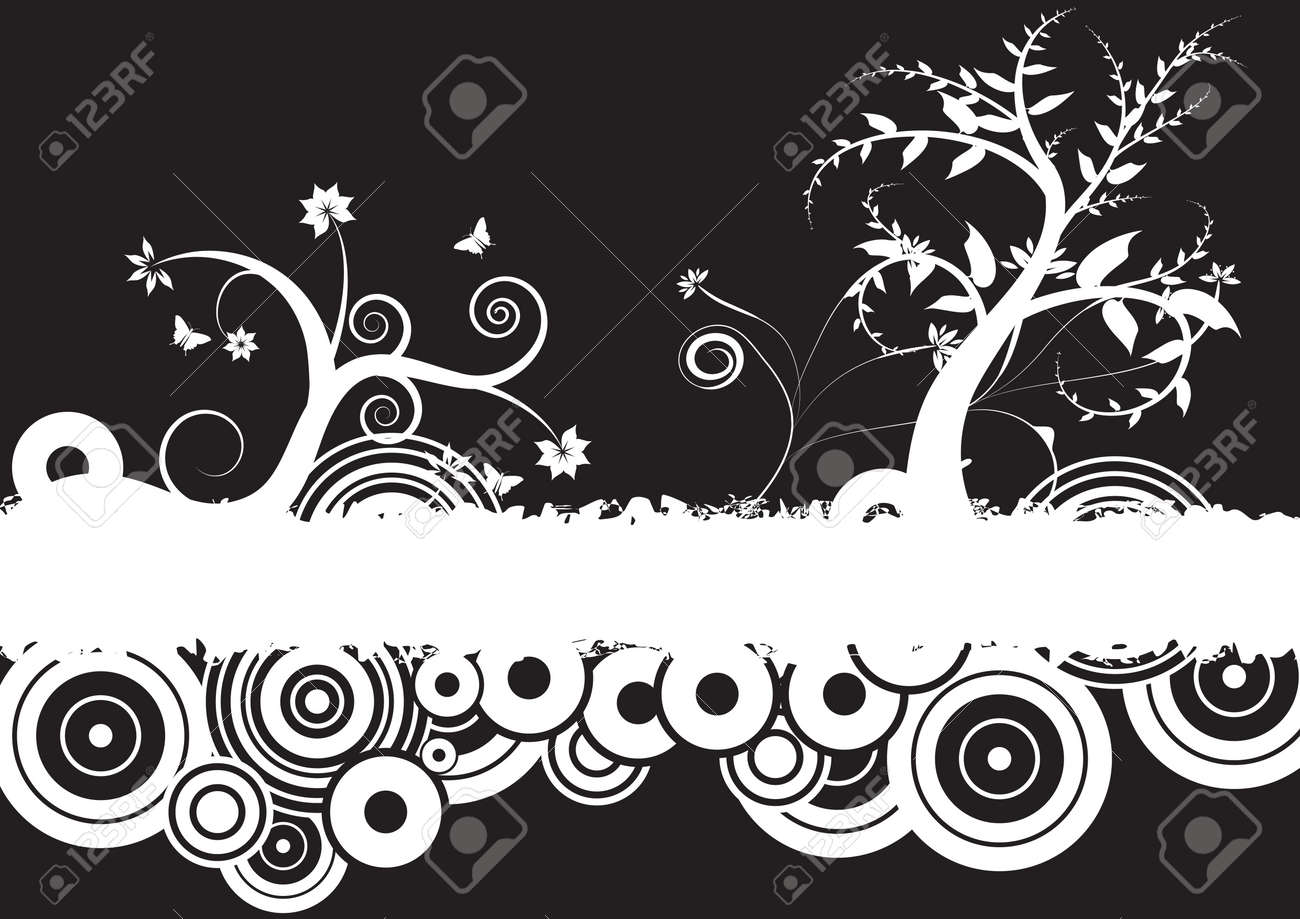 trendy grunge vector floral design Stock Photo - 1007870