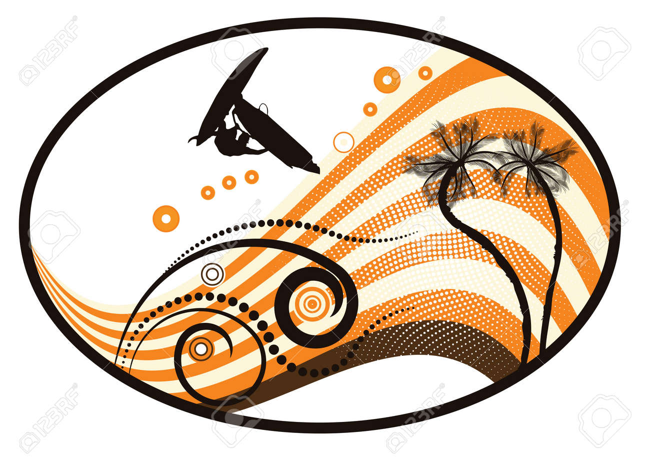 groovy grunge vector tropical design with windsurfer in the air Stock Photo - 1861763