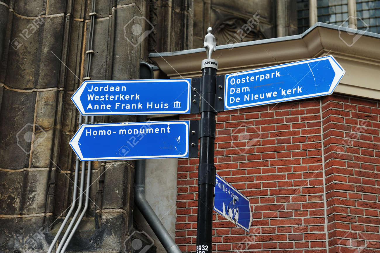 Information sign in Amsterdam Near the Anne Frank House Standard-Bild - 5205118
