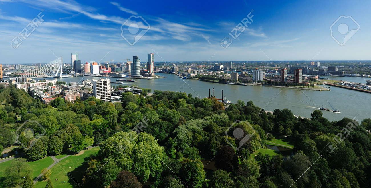 aerial view of  Rotterdam in the Netherlands, Europe Standard-Bild - 5522216