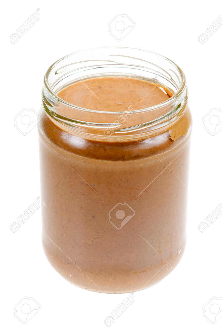 Jar of peanut butter isolated on a white background Standard-Bild - 9107968