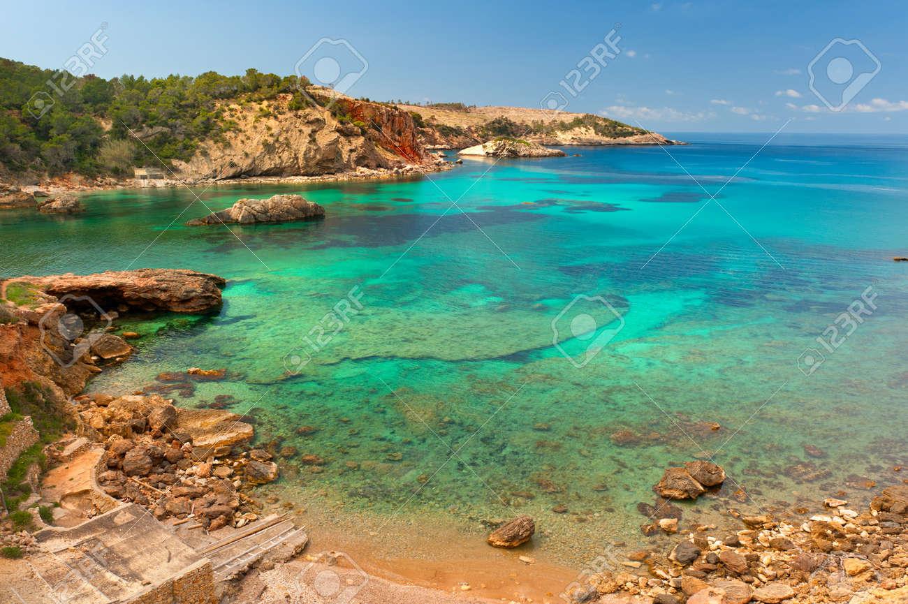 Cala Xarraca, a beautiful small bay in Ibiza Spain Standard-Bild - 9270631