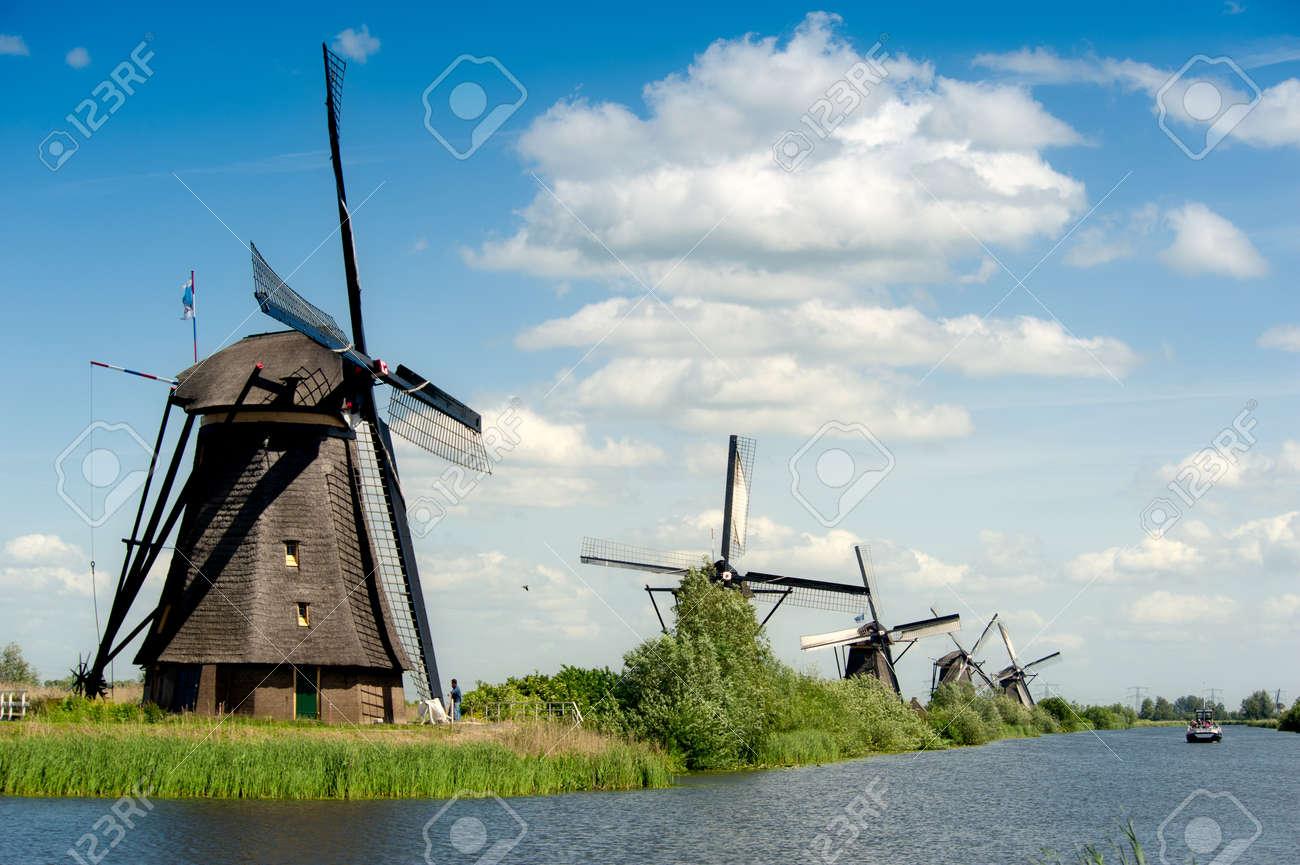 Windmill landscape at Kinderdijk near Rotterdam The Netherlands Stock Photo - 9750963