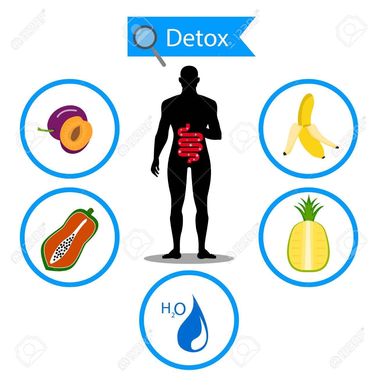 Símbolo De Dos Puntos En La Fruta Y El Agua Con El Cuerpo Humano ...