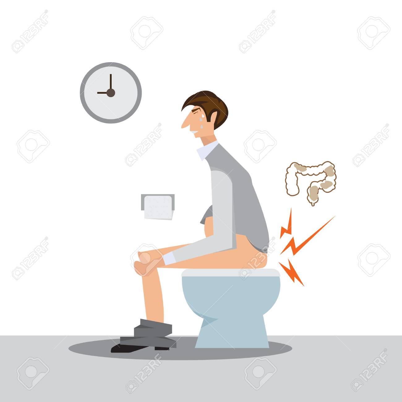 man sitting on a toilet concept. - 91945862