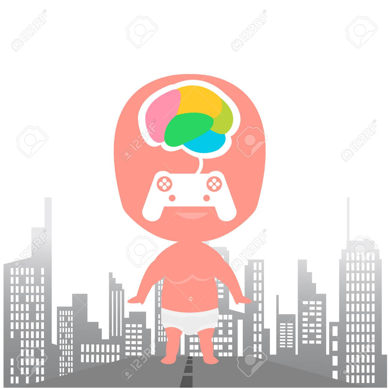 Kids brain games city background