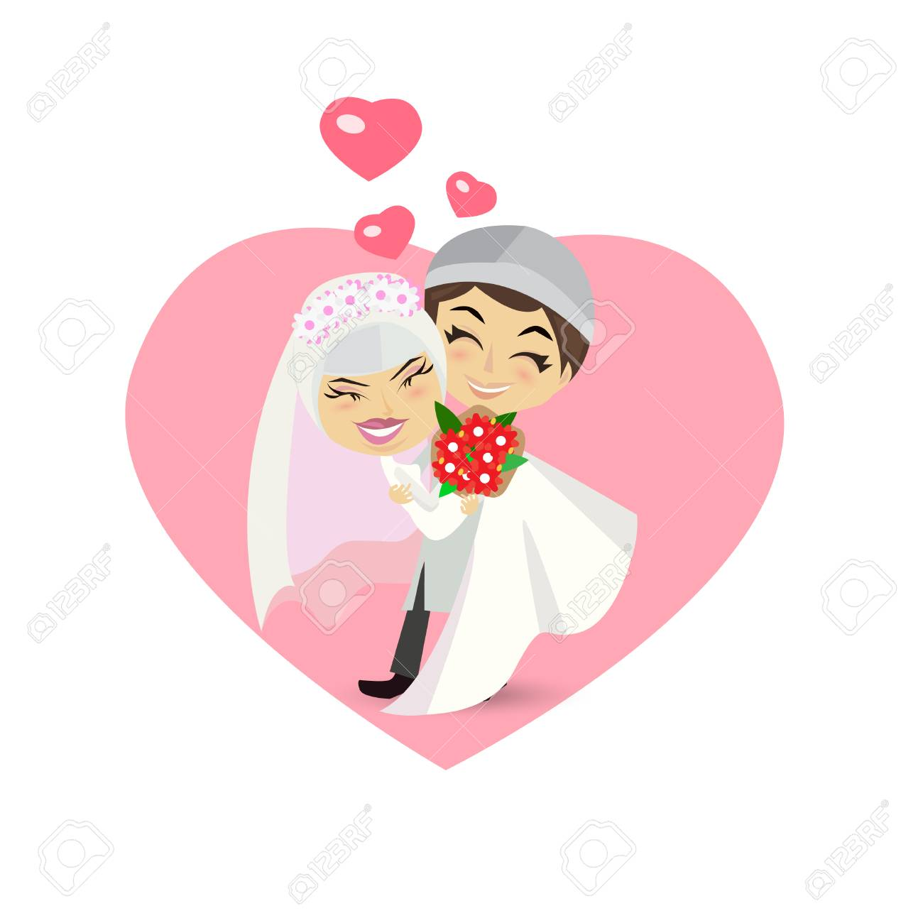 Muslim Wedding Couple Isolated On Heart Background. Royalty Free ...