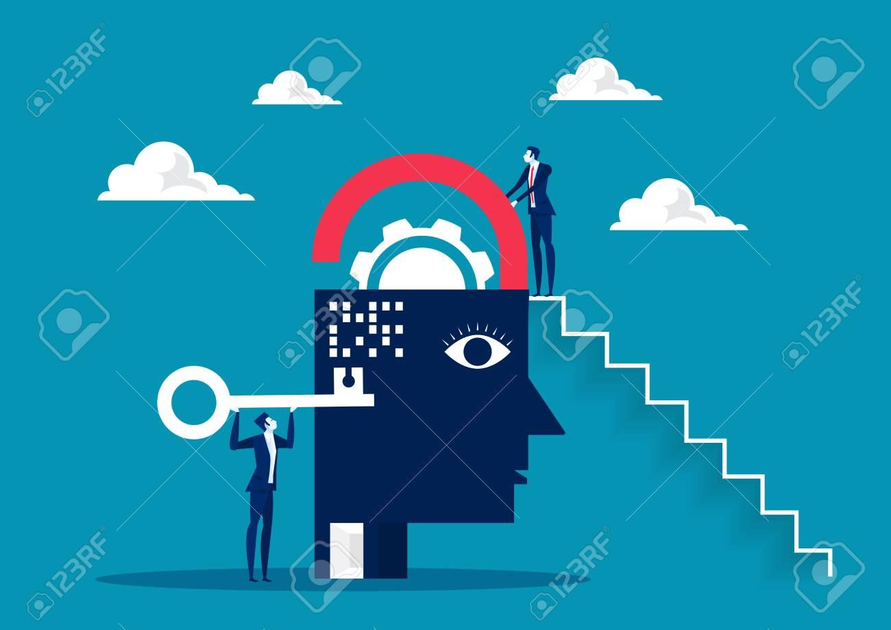 business take key for unlock brain , possitive thinking background - 121163902