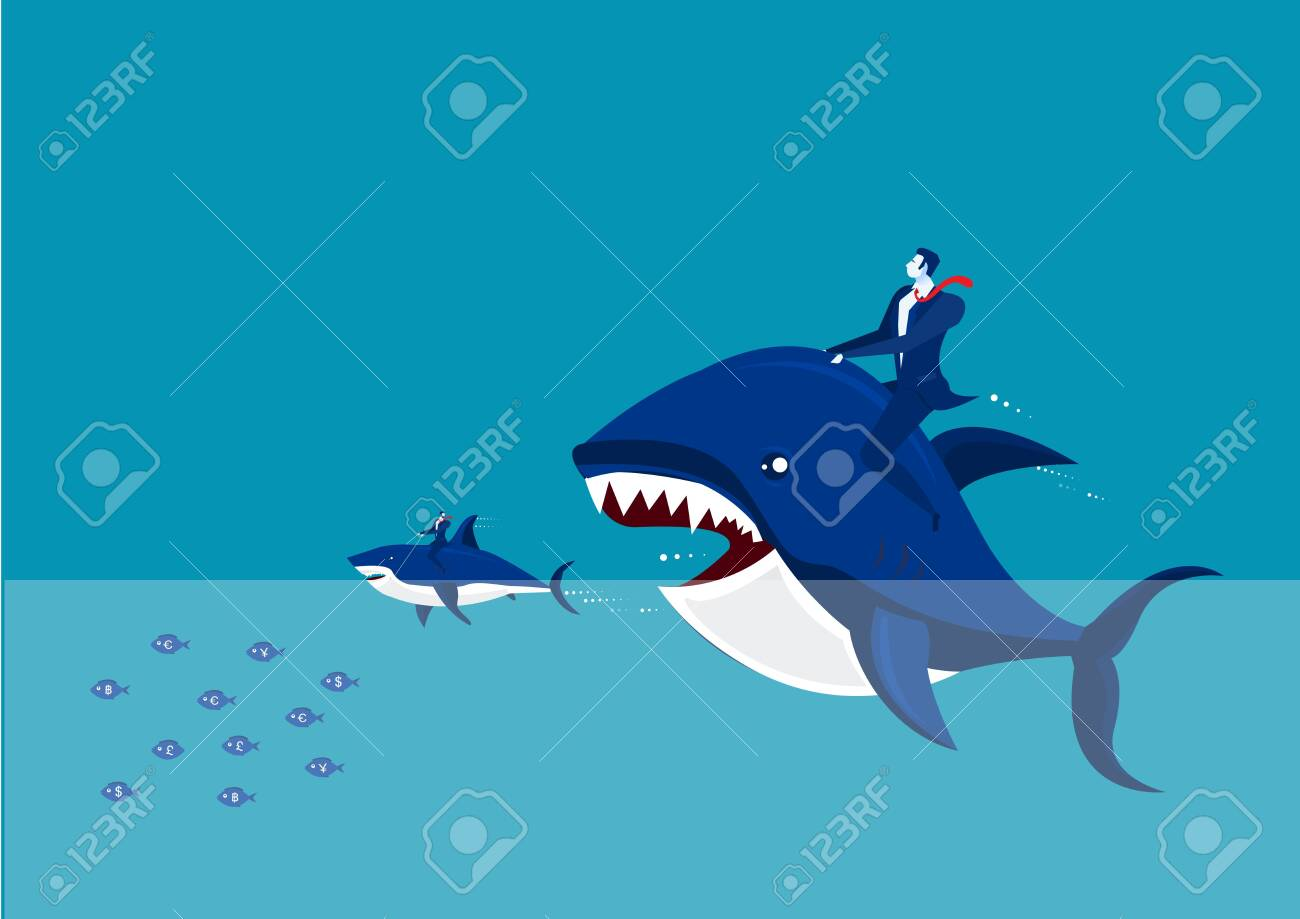 Vector - Big fish with dollar sign eating many small ones - 132758122