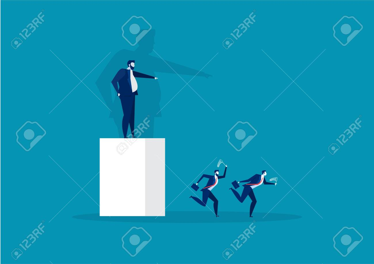 boss pointing the direction to employee run to success concept vector - 153469454
