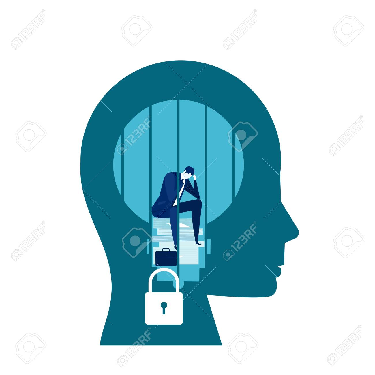 business man sad is sitting and crying in a screaming head prison fixed mindset concept vector - 154345812