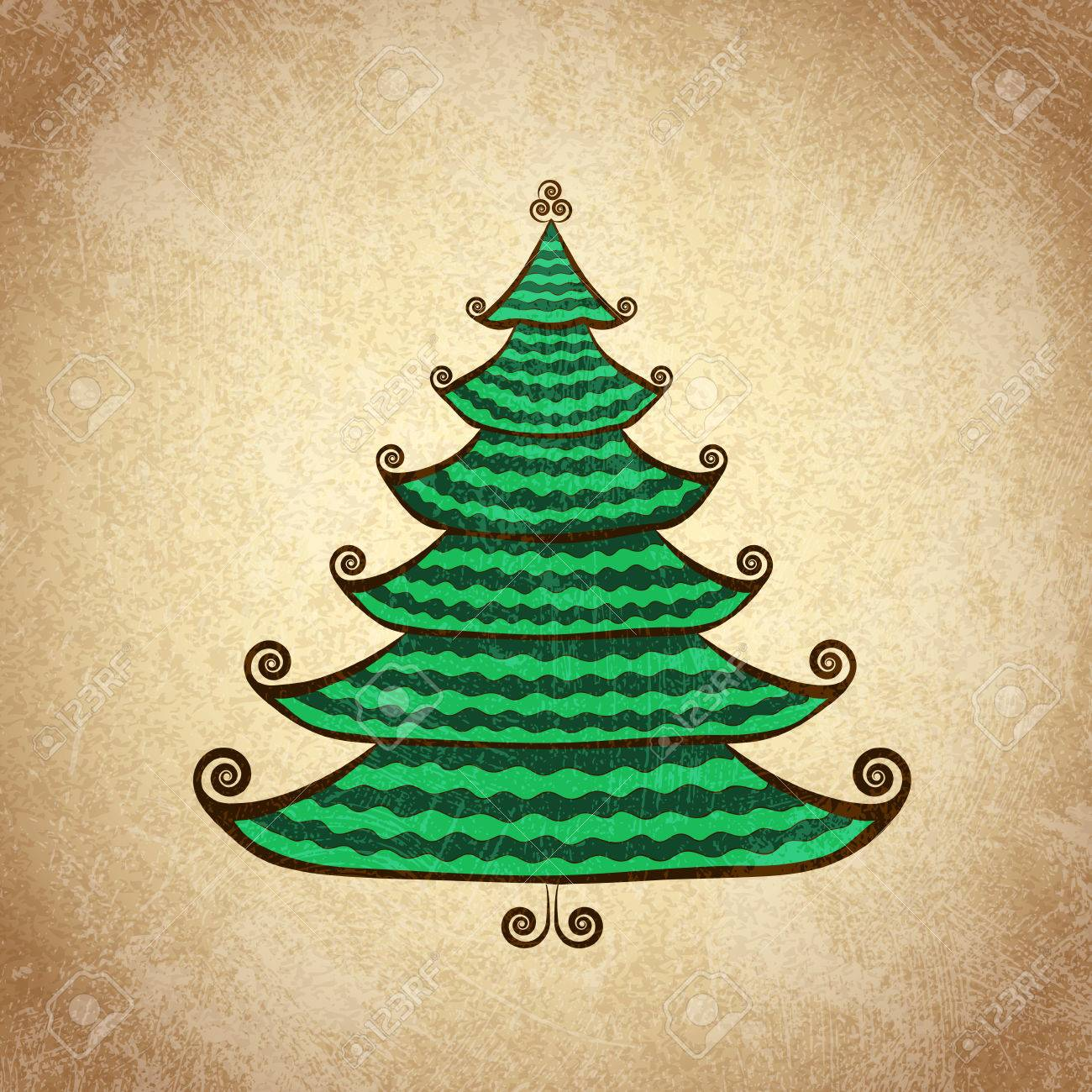 Hand Drawn Christmas Tree With Curls Color Sketch On Grunge ...