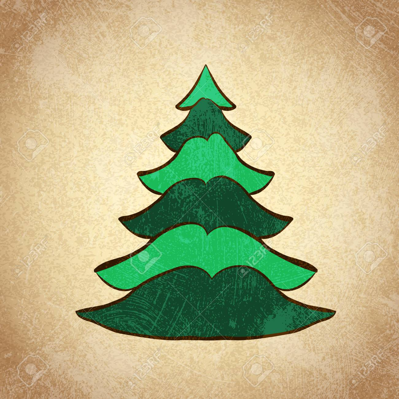 Hand Drawn Christmas Tree Color Sketch On Grunge Vintage Background ...