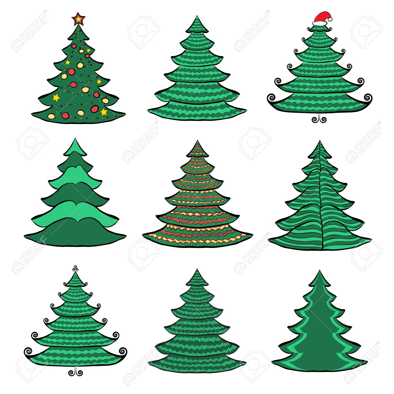 Vector Set Of Nine Christmas Trees Color Sketches On White ...