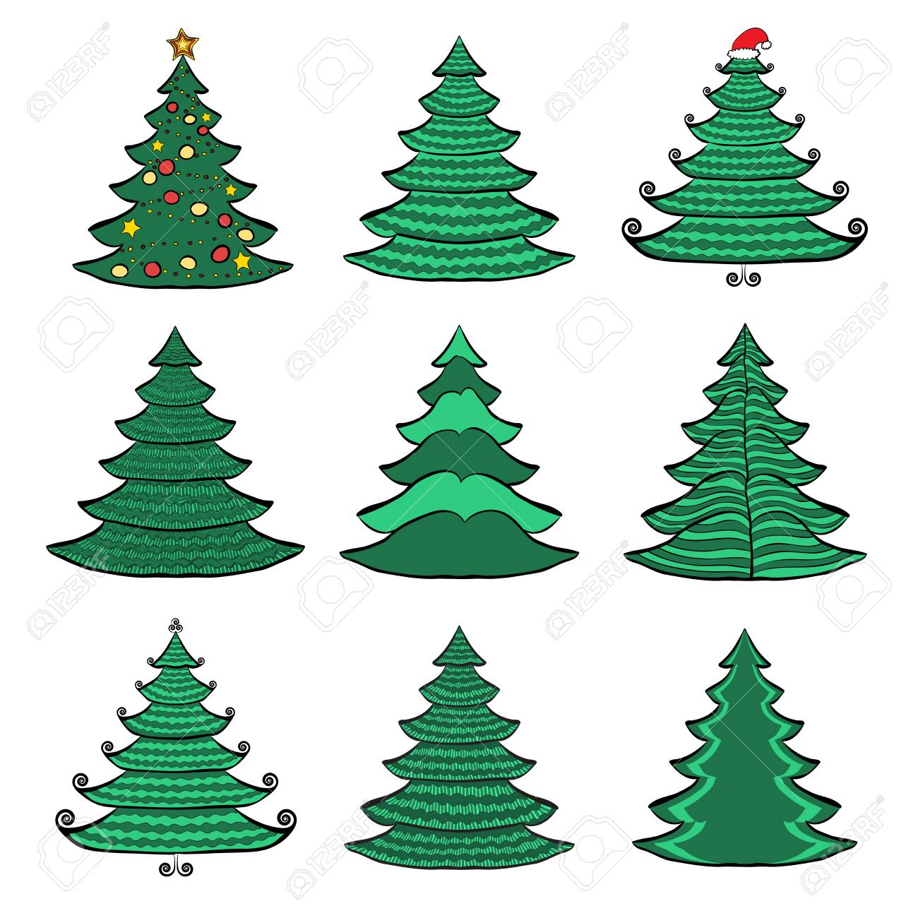 Vector Set Of Nine Christmas Trees. Color Sketches On White ...