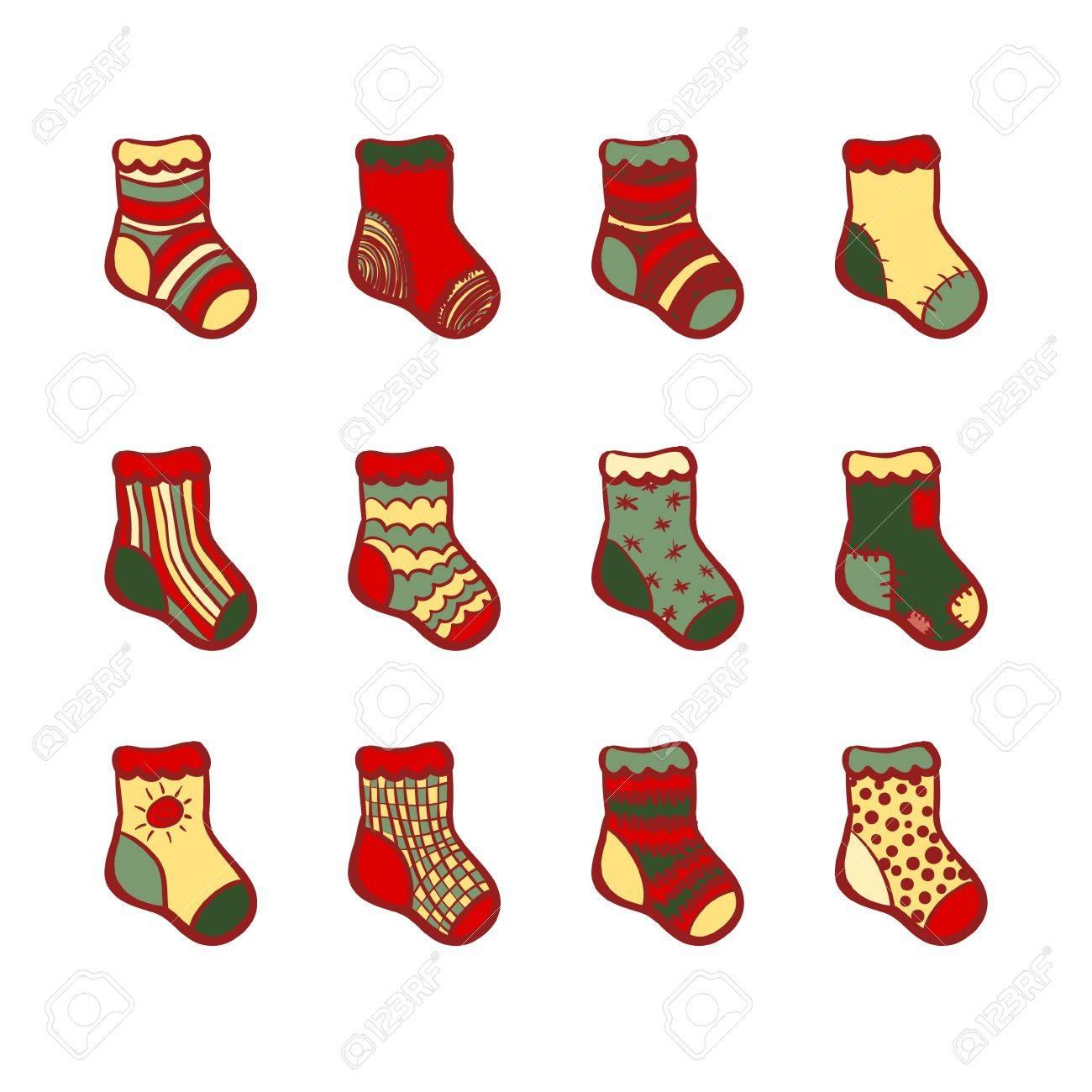 vector conjunto de doce calcetines de navidad bocetos de colores sobre fondo blanco