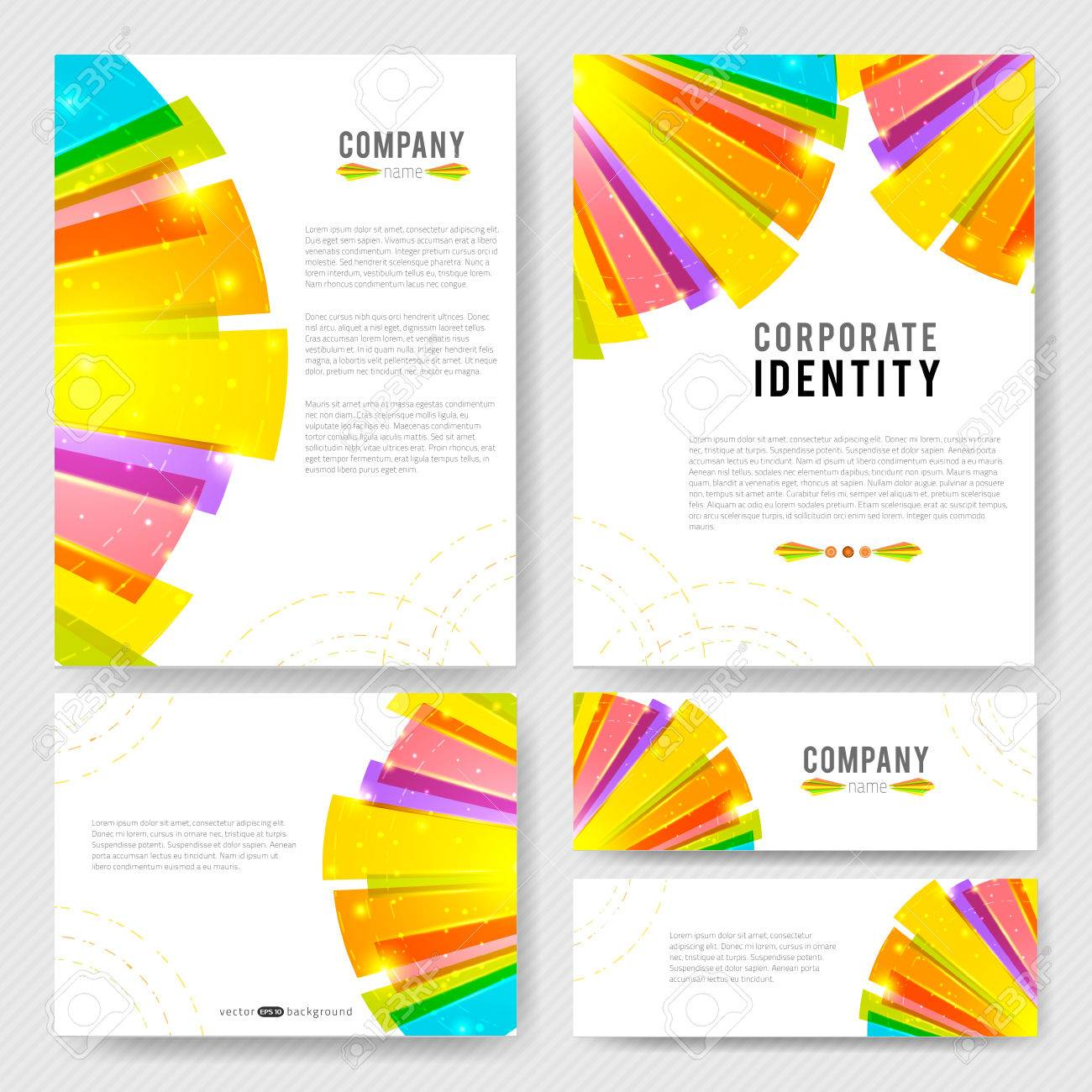 Corporate Identity vector templates set with bright colorful