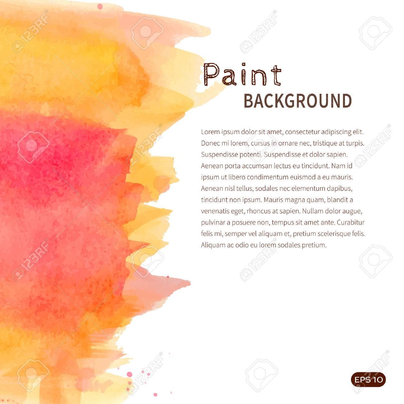 明るい手作り水彩ペイントの背景。白オレンジとピンクの汚れ。テキスト