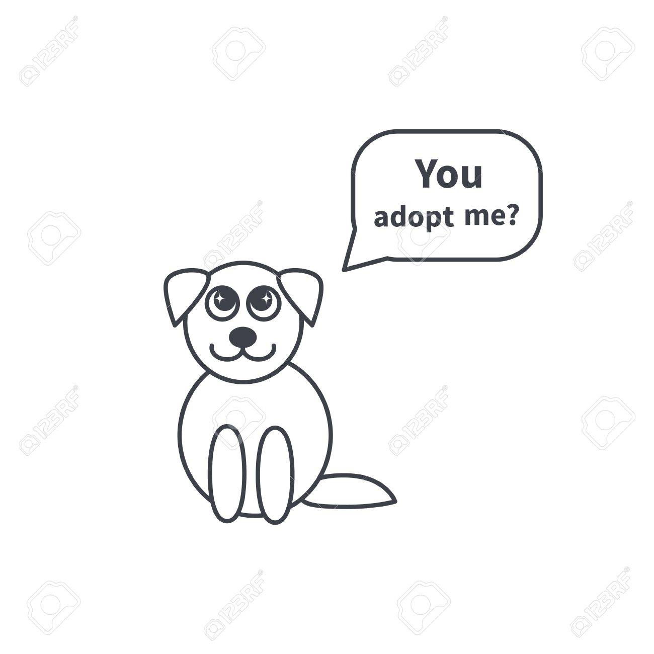 Little Cute Puppy Asks Adopt It. Image With Speech Bubble. Dog ...