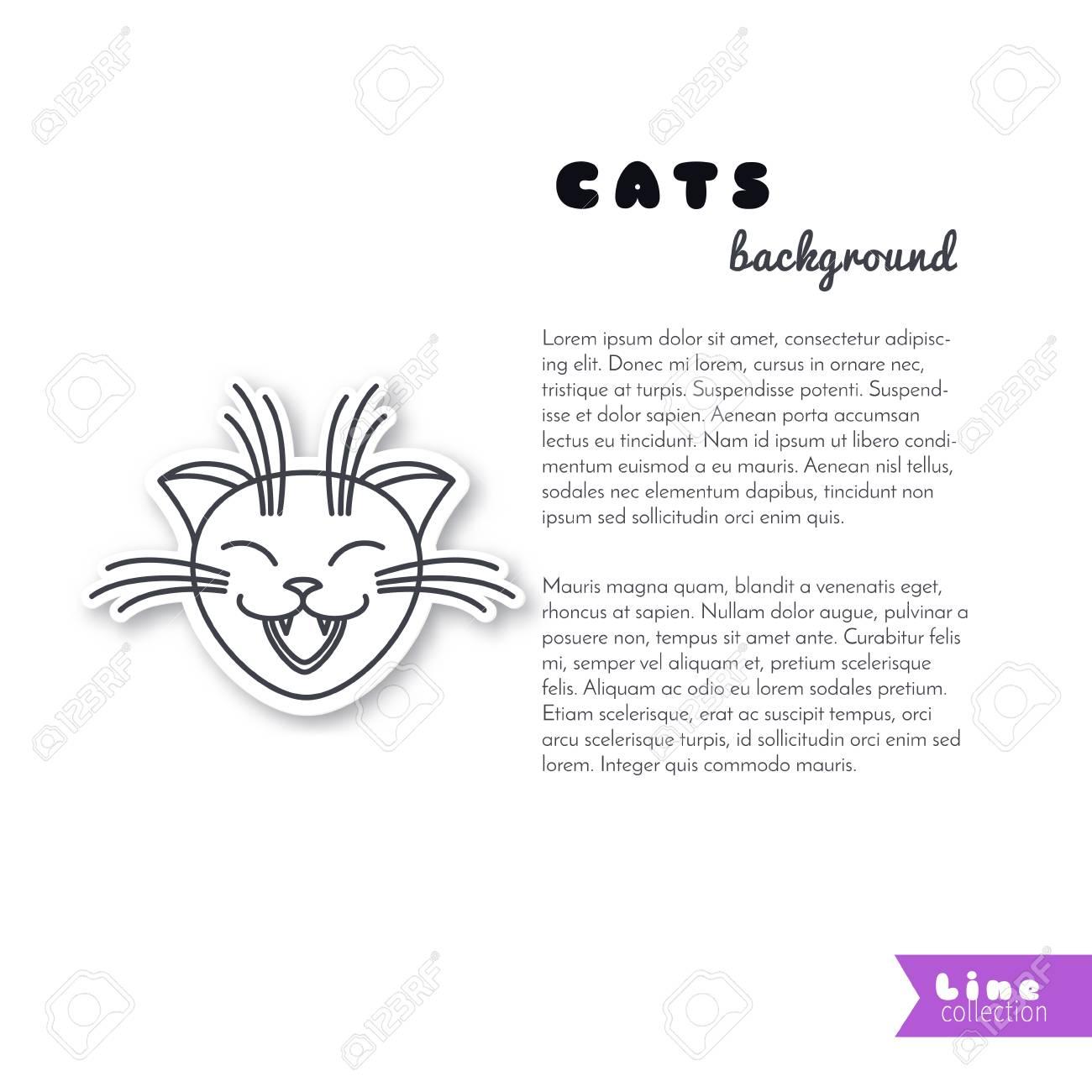 La Cara Del Gato De Risa Feliz. Pegatina De Líneas De Vector Sobre ...
