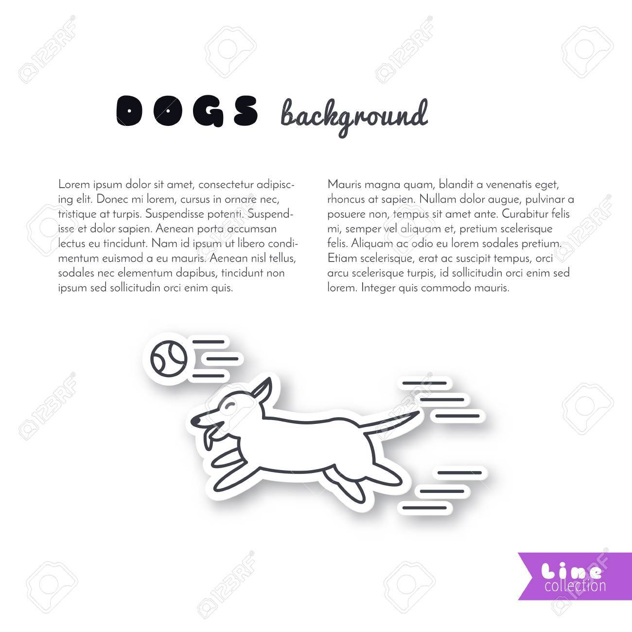 Happy Playing Dog Runs For The Ball. Vector Line Sticker On White ...
