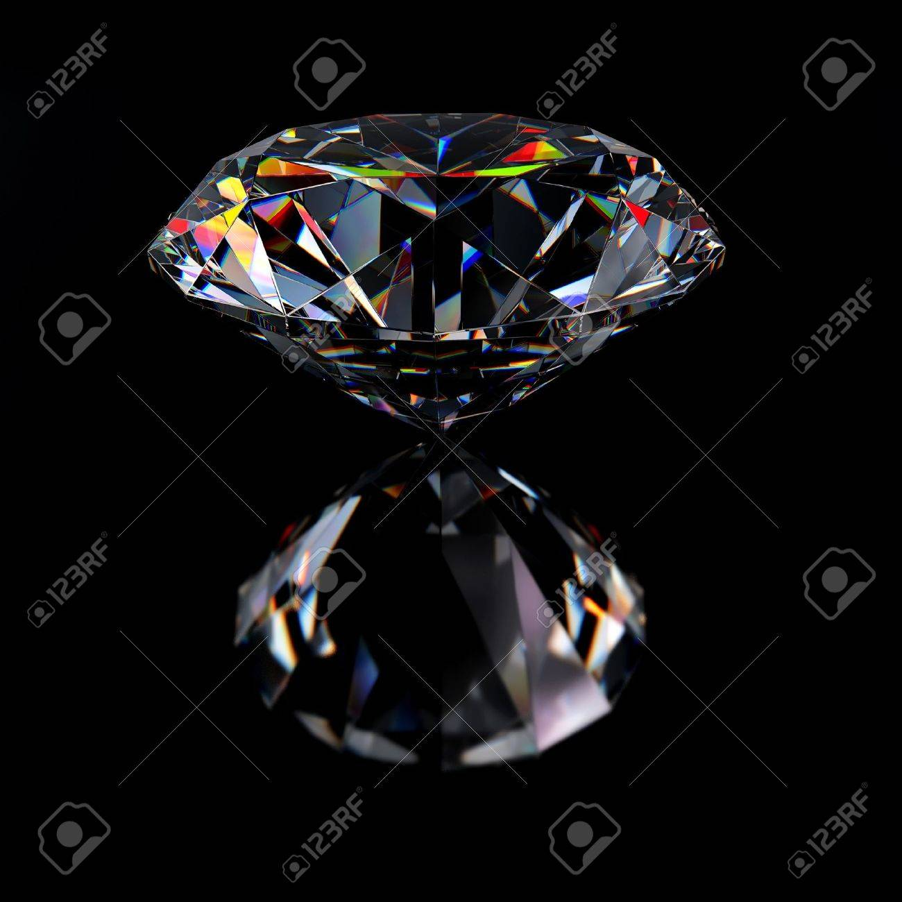 Diamond jewel with reflections on black background Stock Photo - 8000691