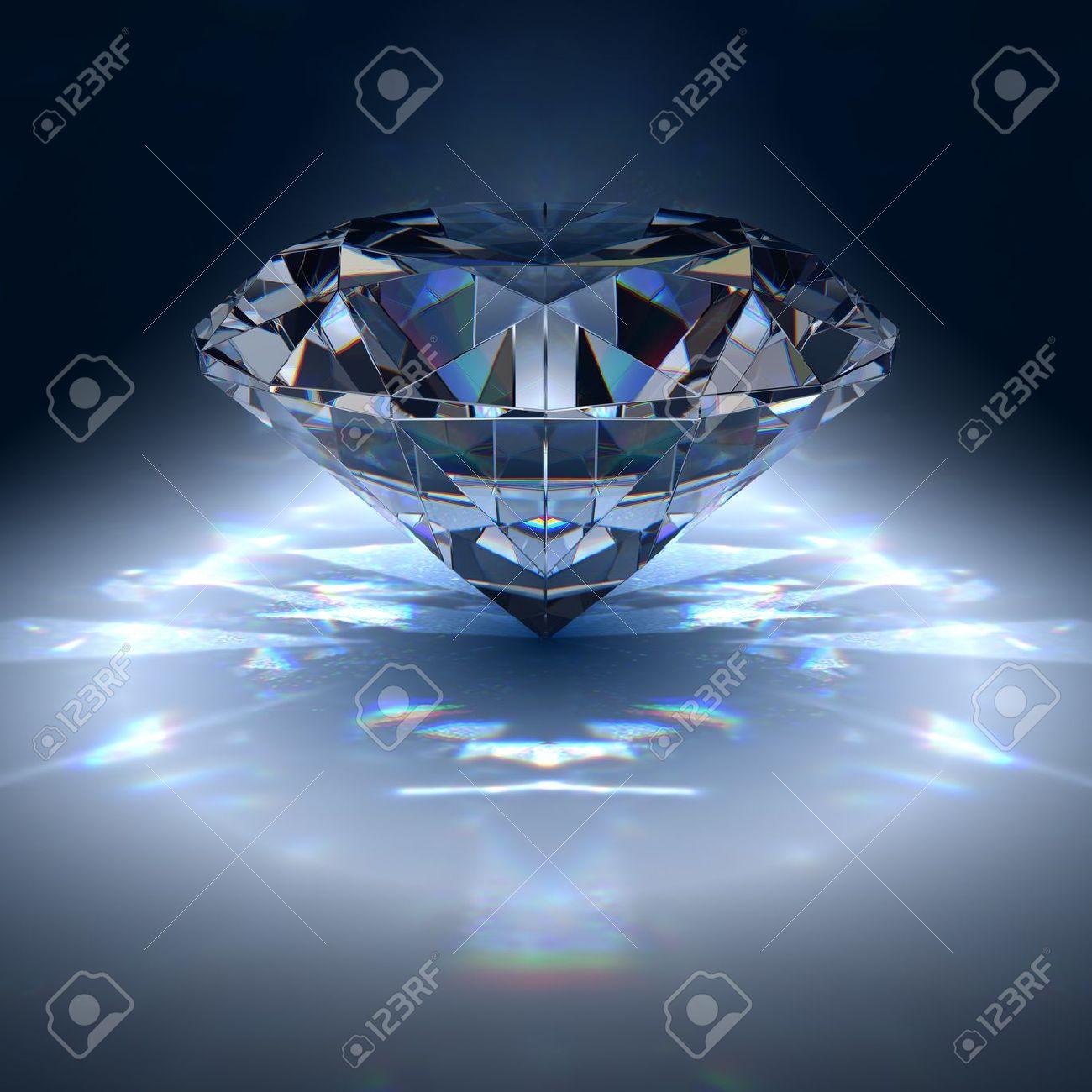 Diamond jewel on blue background - 8000704