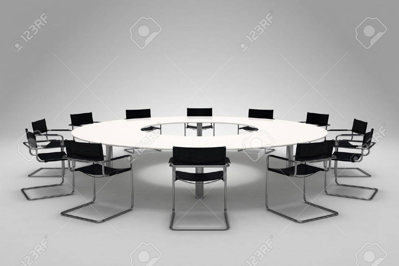Conference table and chairs on gray background Stock Photo - 8000688