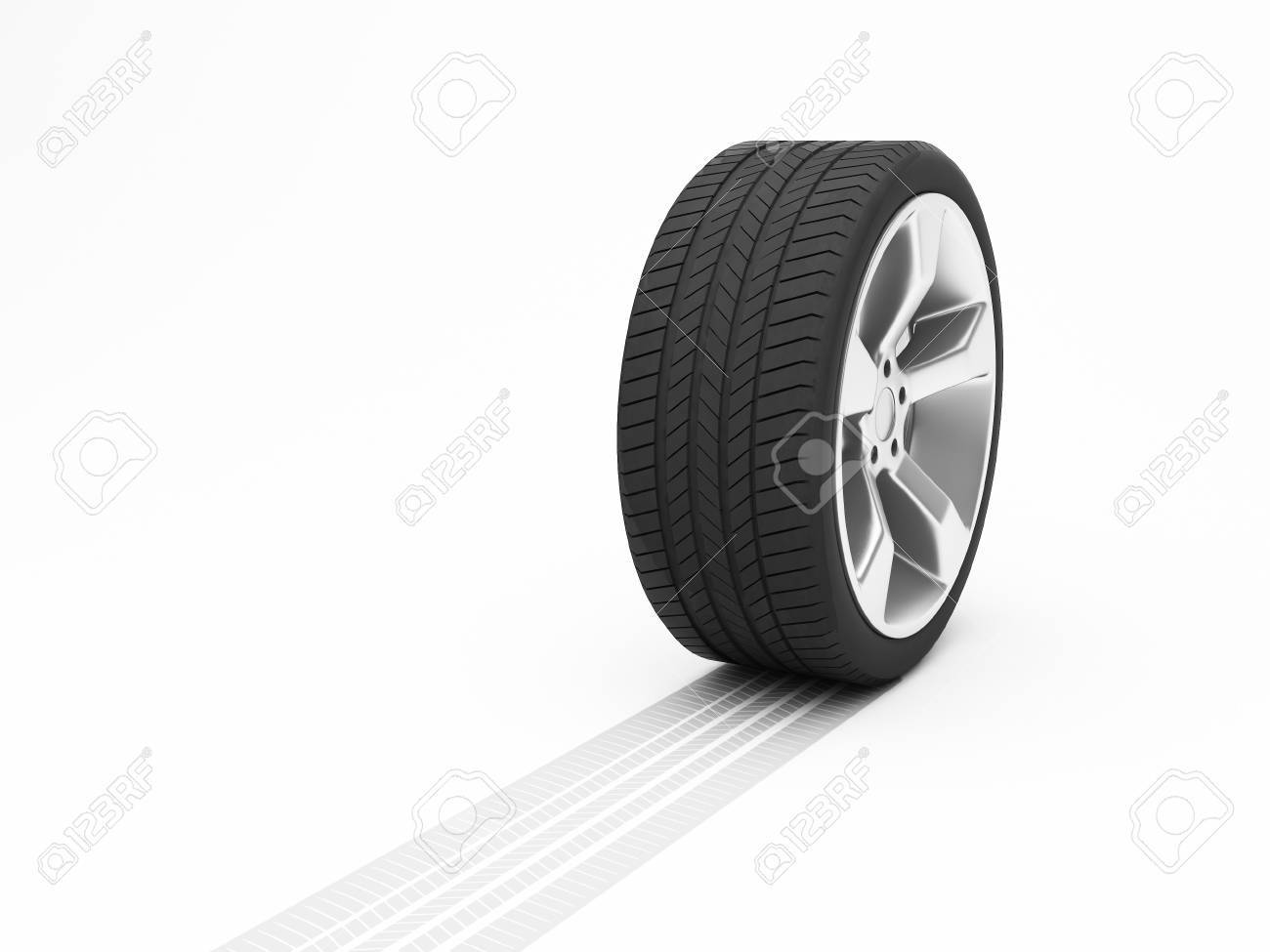 Wheel with tyre track isolated on white background Stock Photo - 8000623