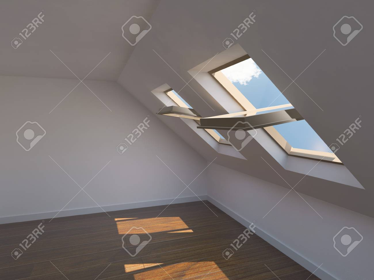 Empty new room with mansard windows Stock Photo - 8000697