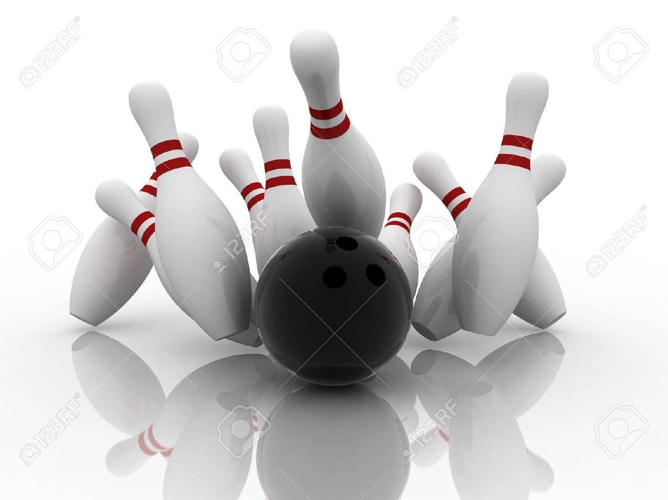 Bowling ball strike shot into the pins - 8287538