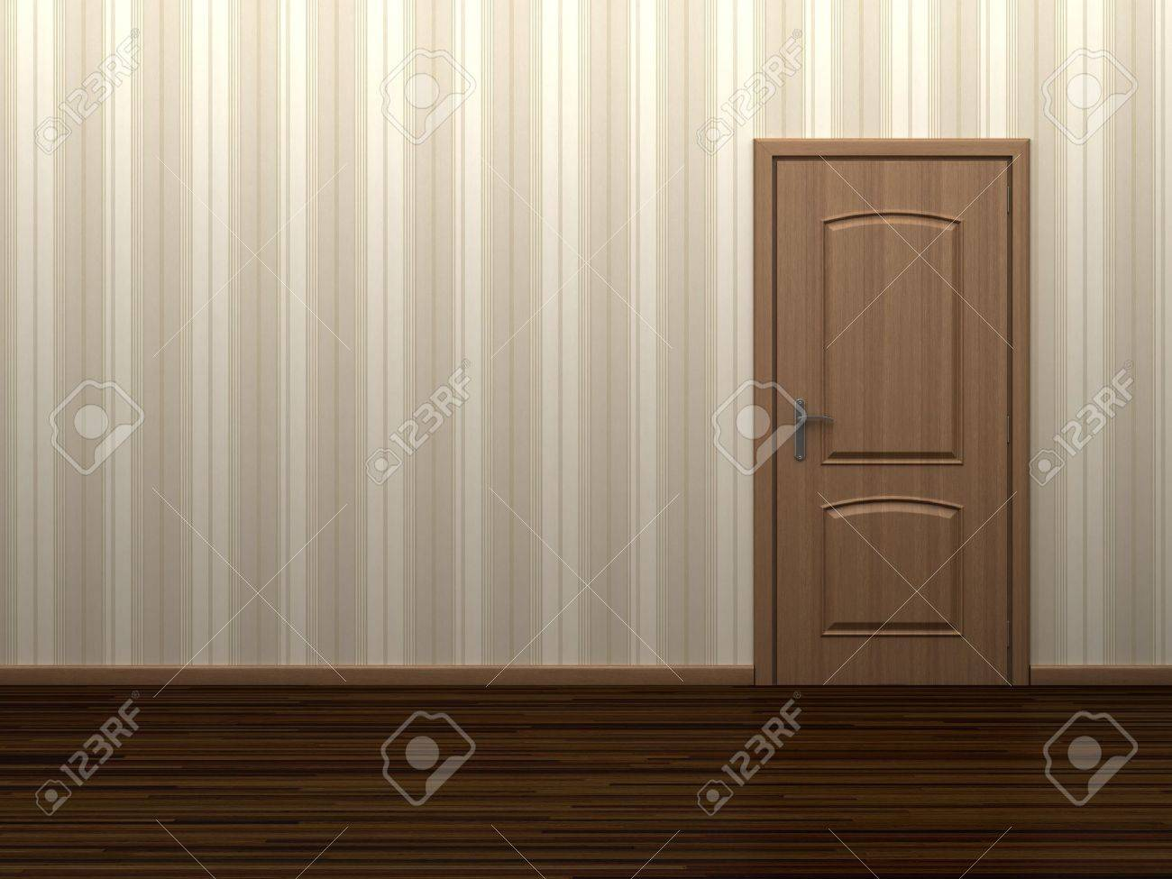 Empty room with wooden door and striped wallpaper Stock Photo - 8494296