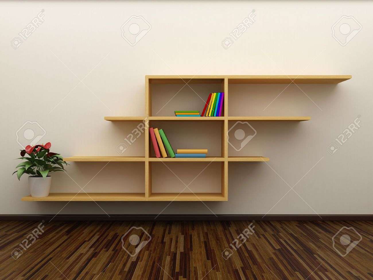 Bookshelf on the wall with books and dvd Stock Photo - 8494297