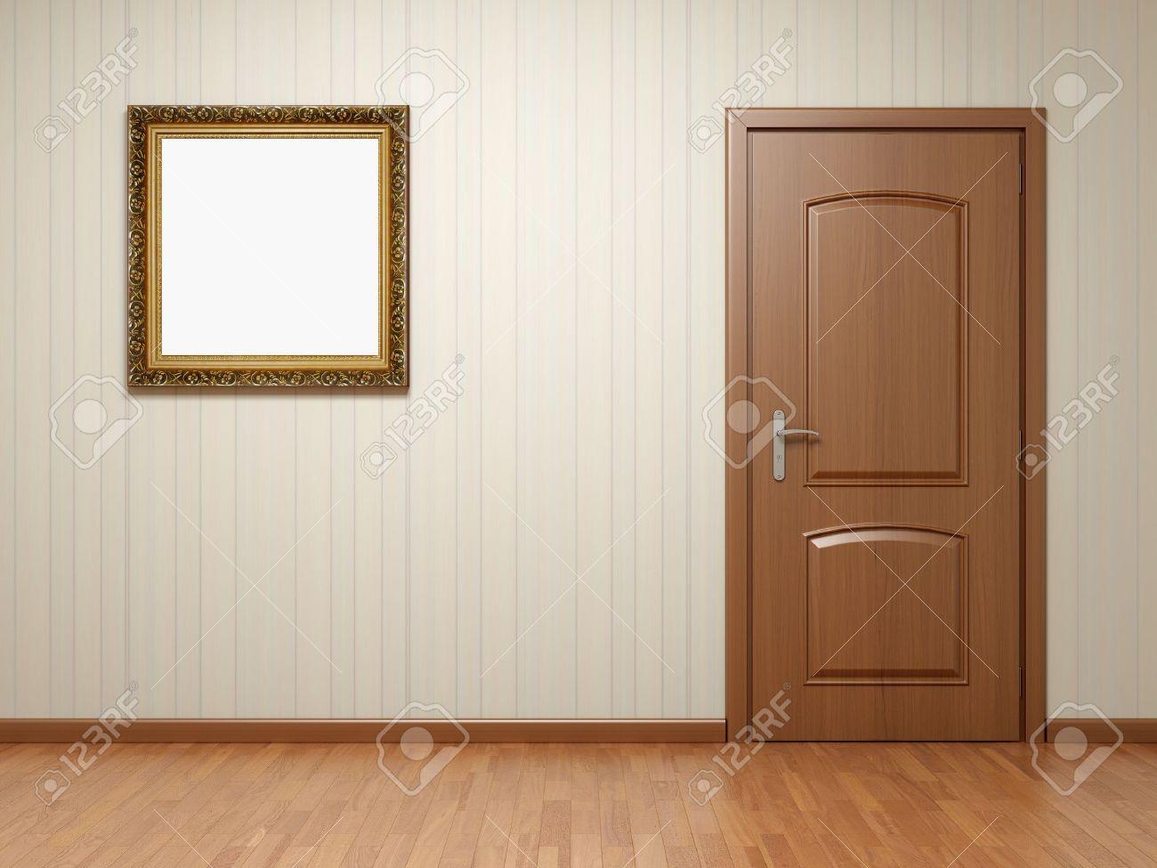 木製のドアとフレーム上のストライプの壁紙と空の部屋 の写真素材