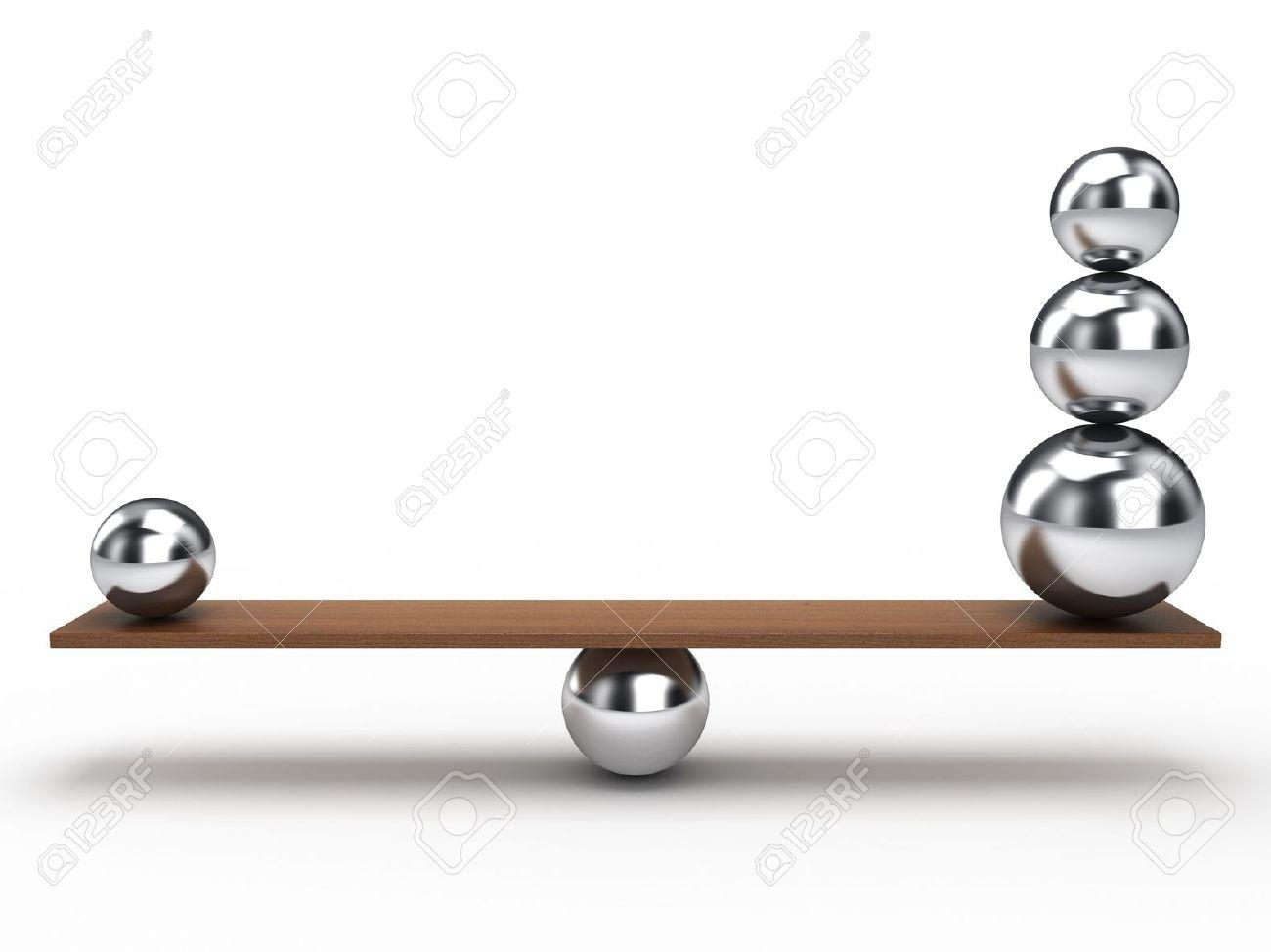 Balancing Balls On Wooden Board Stock Photo   9325101