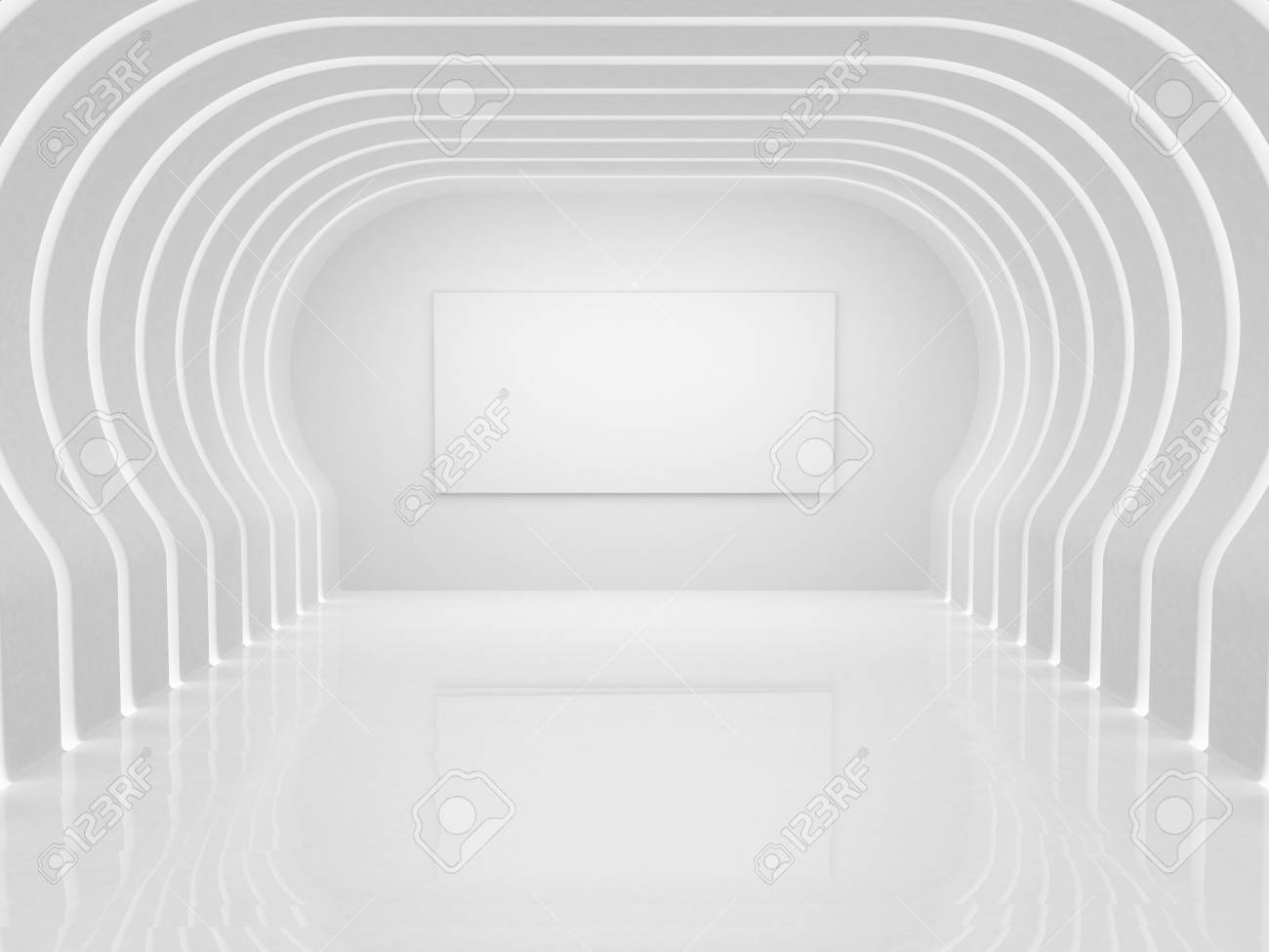 Modern illuminated hall with frame Stock Photo - 9325115