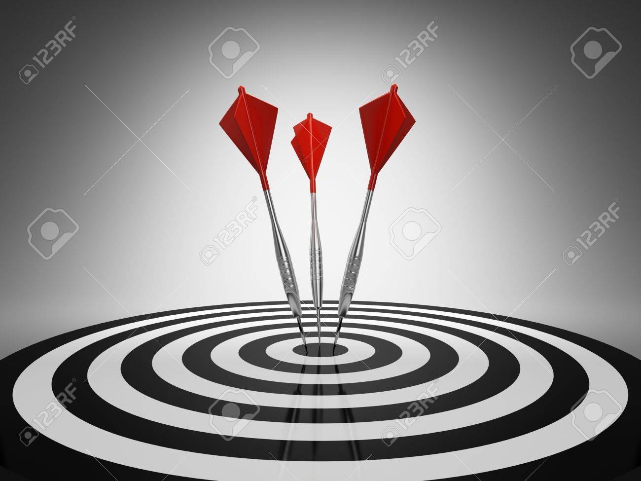 Dart hitting a target on black background Stock Photo - 9325113