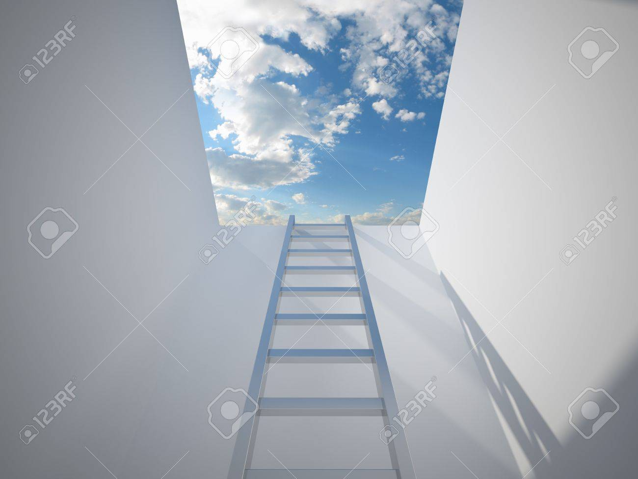 Ladder leading up to the light Stock Photo - 9807964